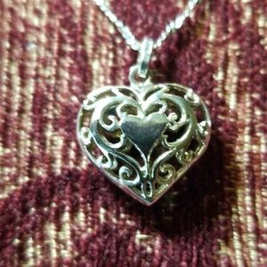 "Sterling Silver Filigree Heart Necklace 18""-19"""